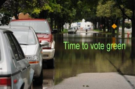 Time to Vote Green Flooded cars